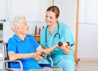 elderly woman on a physical therapy session