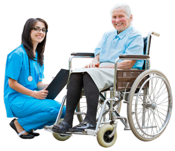 elderly woman smiling with a caregiver